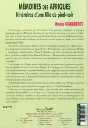 Memoires Des Afriques. Itineraires D'Une Fille De Pied-Noir - 4ème de couverture - Format classique