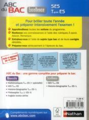 Abc Du Bac Excellence ; Ses ; Terminale Es - 4ème de couverture - Format classique