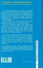 L'Europe A Geometrie Variable - 4ème de couverture - Format classique