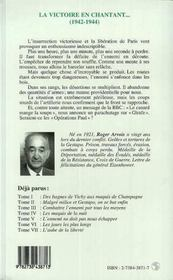 Les Annees Terribles T.8 ; La Victoire En Chantant, 1942-1944 - 4ème de couverture - Format classique