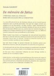De memoire de foetus nouvelle edition - 4ème de couverture - Format classique