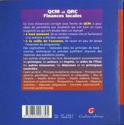 Qcm & qrc finances locales - 4ème de couverture - Format classique