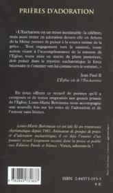 Prieres d'adoration - 4ème de couverture - Format classique