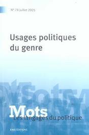 Mots n.78 ; usages politiques du genre - Intérieur - Format classique
