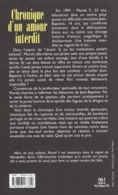 Chronique D'Un Amour Interdit - 4ème de couverture - Format classique