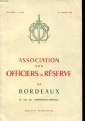 BULLETIN TRIMERTRIEL - ASSOCIATION DES OFFICIERS DE RESERVE - 87e ANNEE - N° 256 - 1er JANVIER 1970 - Couverture - Format classique