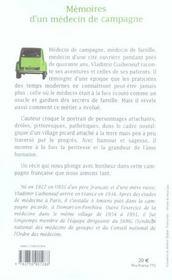 Memoires D'Un Medecin De Campagne - 4ème de couverture - Format classique