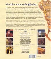 Meubles anciens du Québec ; au carrefour de trois cultures - 4ème de couverture - Format classique
