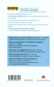 Annadroit 2001. Droit Constitutionnel Et Institutions Publiques - 4ème de couverture - Format classique