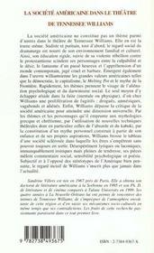 La Societe Americaine Dans Le Theatre De Tennessee Williams - 4ème de couverture - Format classique