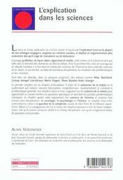 Explication Dans Les Sciences (L') - 4ème de couverture - Format classique