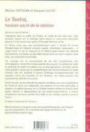 Tantra, Horizon Sacre De La Relation (Le) - 4ème de couverture - Format classique