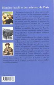 Histoires insolites des animaux de paris - 4ème de couverture - Format classique