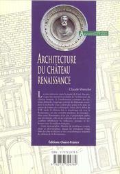 Architecture Du Chateau Renaissance - 4ème de couverture - Format classique