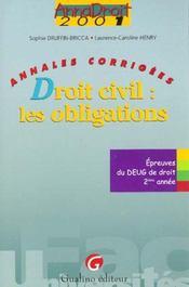 Anna Droit 2001 Droit Civil Droit Obligations - Intérieur - Format classique