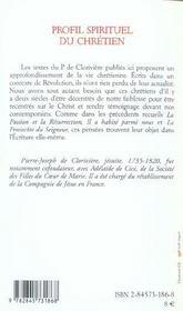 Profil Spirituel Du Chretien - 4ème de couverture - Format classique
