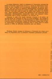 Repertoire Du Theatre Camerounais - 4ème de couverture - Format classique