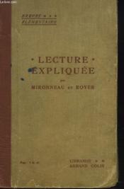 Lecture Expliquee. Brevet Elementaire. - Couverture - Format classique