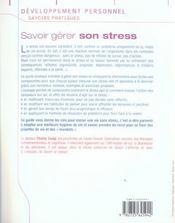 Savoir gérer son stress en toutes circonstances - 4ème de couverture - Format classique