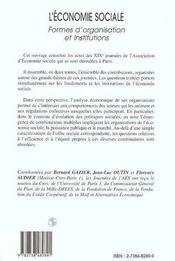 L'Economie Sociale ; Formes D'Organisations Et Institutions T.1 - 4ème de couverture - Format classique