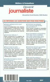 Devenir Journaliste ; Edition 2000 - 4ème de couverture - Format classique