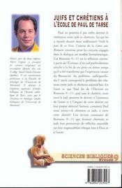 Juifs Et Chretiens A L'Ecole De Paul De Tarse - 4ème de couverture - Format classique
