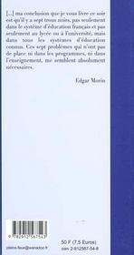 A Propos Des Sept Savoirs - 4ème de couverture - Format classique