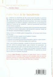 FAIRE FACE ; à la boulimie - 4ème de couverture - Format classique