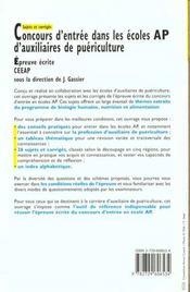Concours D'Entrée Dans Les Ecoles Ap D'Auxiliaires De Puériculture. Sujets Et Corrigés - 4ème de couverture - Format classique