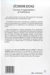 L'Economie Sociale ; Formes D'Organisations Et Institutions T.2 - 4ème de couverture - Format classique