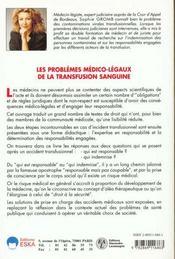 Les problemes medico-legaux de la transfusion sanguine - 4ème de couverture - Format classique