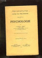 COURS DE PHILOSOPHIE VOLUME III. PSYCHOLOGIE. 11em EDITION. - Couverture - Format classique