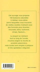 Boissons ménagères ; vins ; apéritifs ; liqueurs ; sirops - 4ème de couverture - Format classique