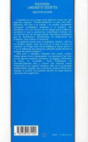 Education, Langage Et Societes - 4ème de couverture - Format classique