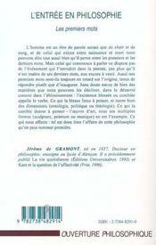 L'Entree En Philosophie ; Les Premiers Mots - 4ème de couverture - Format classique