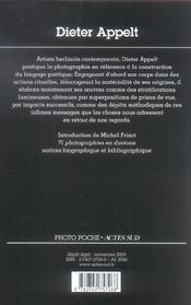 Dieter Appelt Photo Poche N 54 - 4ème de couverture - Format classique
