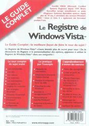 Le registre de windows vista - 4ème de couverture - Format classique
