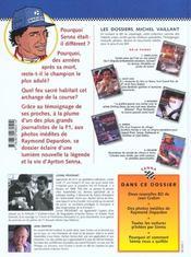 Dossier Michel Vaillant T.6 ; Ayrton Senna ; Le Feu Sacré - 4ème de couverture - Format classique