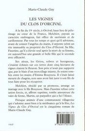 Les vignes du clos d'orcival - 4ème de couverture - Format classique