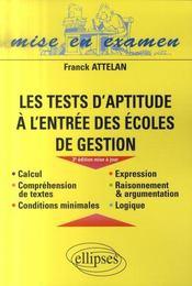 Les tests d'aptitude à l'entrée des écoles de gestion (3e édition) - Intérieur - Format classique