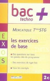 Mercatique ; terminale STG ; exercices de base - Intérieur - Format classique