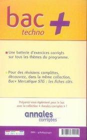 Mercatique ; terminale STG ; exercices de base - 4ème de couverture - Format classique