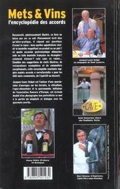 Mets Et Vins, L Encyclopedie Des Accords - 4ème de couverture - Format classique