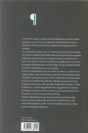 D'Une Antiquite L'Autre. La Litterature Antique Classique Dans Les Bi Bliotheques Du 15<Sup>E</Sup> - 4ème de couverture - Format classique