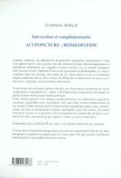 Interaction et complementarite, acupuncture et homeopathie - 4ème de couverture - Format classique