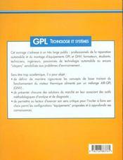 Gpl, technologie et systemes - 4ème de couverture - Format classique