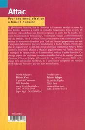 Pour Une Mondialisation A Finalite Humaine - 4ème de couverture - Format classique