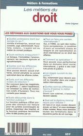 Les Metiers Du Droit ; Edition 2000 - 4ème de couverture - Format classique