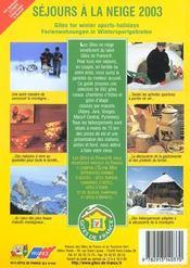 Sejours A La Neige ; Edition 2003 - 4ème de couverture - Format classique