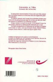 Universités et villes ; annuaire des recherches - 4ème de couverture - Format classique